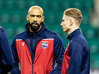 12th February 2020; Easter Road, Edinburgh, Scotland; Scottish Premiership Football, Hibernian versus Ross County; Liam Fontaine and Oli Shaw of Ross County inspect pitch before kick off