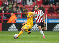 Preston North End's Ryan Ledson  battles with  Sheffield United's Billy Sharp<br /> <br /> Photographer Mick Walker/CameraSport<br /> <br /> The EFL Sky Bet Championship - Sheffield United v Preston North End - Saturday 22 September 2018 - Bramall Lane - Sheffield<br /> <br /> World Copyright &copy; 2018 CameraSport. All rights reserved. 43 Linden Ave. Countesthorpe. Leicester. England. LE8 5PG - Tel: +44 (0) 116 277 4147 - admin@camerasport.com - www.camerasport.com