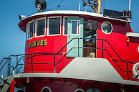 Tug John Purves at the Door County Maritime Museum in Sturgeon Bay Wisconsin.  The tug was built in 1919 as an ocean going tug.  The tugboat is 149 feet long and had a 13 man crew.