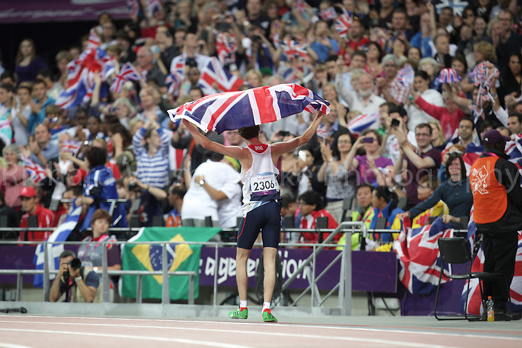 Paralympics London 2012 - ParalympicsGB - Volleyball..Paul Blake celebrates winning a Silver Medal after competing in the Men's 400m - T36 Final  4th September 2012 held at the Olympic Stadium at the Paralympic Games in London. Photo: Richard Washbrooke/ParalympicsGB