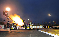 Jun. 1, 2012; Englishtown, NJ, USA: NHRA top fuel dragster driver Tony Schumacher launches off the starting line during qualifying for the Supernationals at Raceway Park. Mandatory Credit: Mark J. Rebilas-