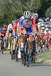 Valentin Madouas (FRA) Groupama-FDJ leads the bunch during the Criterium Castillon La Bataille 2019 the first criterium after the Tour de France held around Ville de Castillon-la-Bataille, France. 6th August 2019.<br /> Picture: Colin Flockton | Cyclefile<br /> All photos usage must carry mandatory copyright credit (© Cyclefile | Colin Flockton)