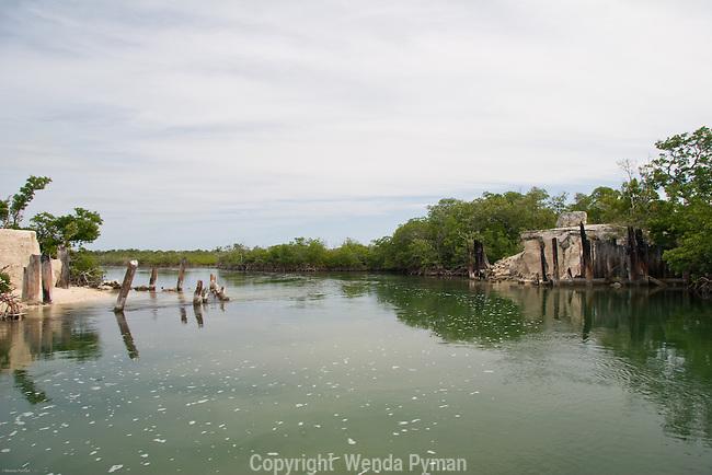 Remnants of a bridge in the mangrove channels near Cudjoe Bay.
