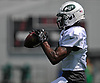 Tre McBride #7 of the New York Jets makes a catch during team practice at the Atlantic Health Jets Training Center in Florham Park, NJ on Sunday, July 29, 2018.