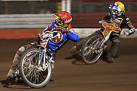 Heat 11: Tomasz Jedrzejak (red) and Ben Barker (yellow) - Lakeside Hammers vs Coventry Bees - Craven Shield Final 1st Leg at The Arena Essex Raceway, Lakeside - 16/10/08 - MANDATORY CREDIT: Rob Newell/TGSPHOTO