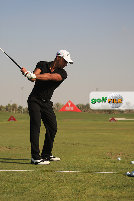 Ahmed Al Musharel (AM) on the driving range after the 2nd round of the Abu Dhabi HSBC Golf Championship, Abu Dhabi GC,Abu Dhabi,United Arab Emirates.Picture Fran Caffrey www.golffile.ie