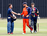 Heino Kuhn is congratulated on his 100 by a Netherlands player during the T20 friendly between Kent and the Netherlands at the St Lawrence Ground, Canterbury, on July 3, 2018