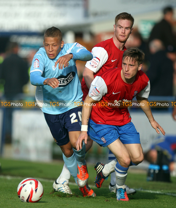 Dwight Gayle of Dagenham and Daniel Parslow of York City - York City vs Dagenham and Redbridge at the Bootham Crescent Stadium  - 20/10/12 - MANDATORY CREDIT: Dave Simpson/TGSPHOTO - Self billing applies where appropriate - 0845 094 6026 - contact@tgsphoto.co.uk - NO UNPAID USE.