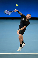 9th January 2020; Sydney Olympic Park Tennis Centre, Sydney, New South Wales, Australia; ATP Cup Australia, Sydney, Day 7; Great Britain versus Australia; Alex de Minaur of Australia versus Daniel Evans of Great Britain; Daniel Evans of Great Britain serves to Alex de Minaur of Australia - Editorial Use
