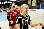 Rüsselsheim, Germany, April 13: Anna Pogany #12 of the Rote Raben Vilsbiburg celebrates the win over VC Wiesbaden after play off Game 1 in the best of three series in the semifinal of the DVL (Deutsche Volleyball-Bundesliga Damen) season 2013/2014 between the VC Wiesbaden and the Rote Raben Vilsbiburg on April 13, 2014 at Grosssporthalle in Rüsselsheim, Germany. Final score 0:3 (Photo by Dirk Markgraf / www.265-images.com) *** Local caption ***