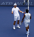 SHANGHAI, CHINA - OCTOBER 17:  Jurgern Melzer of Austria and Leander Paes of India celebrate match point to Mariusz Fyrstenberg and Marcin Matkowski of Poland on their doubles final during day seven of the 2010 Shanghai Rolex Masters at the Shanghai Qi Zhong Tennis Center on October 17, 2010 in Shanghai, China.  (Photo by Victor Fraile/The Power of Sport Images) *** Local Caption *** Jurgern Melzer; Leander Paes