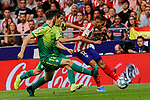 Renan Lodi of Atletico de Madrid and Alvaro Tejero of SD Eibar in action during La Liga match between Atletico de Madrid and SD Eibar at Wanda Metropolitano Stadium in Madrid, Spain.September 01, 2019. (ALTERPHOTOS/A. Perez Meca)
