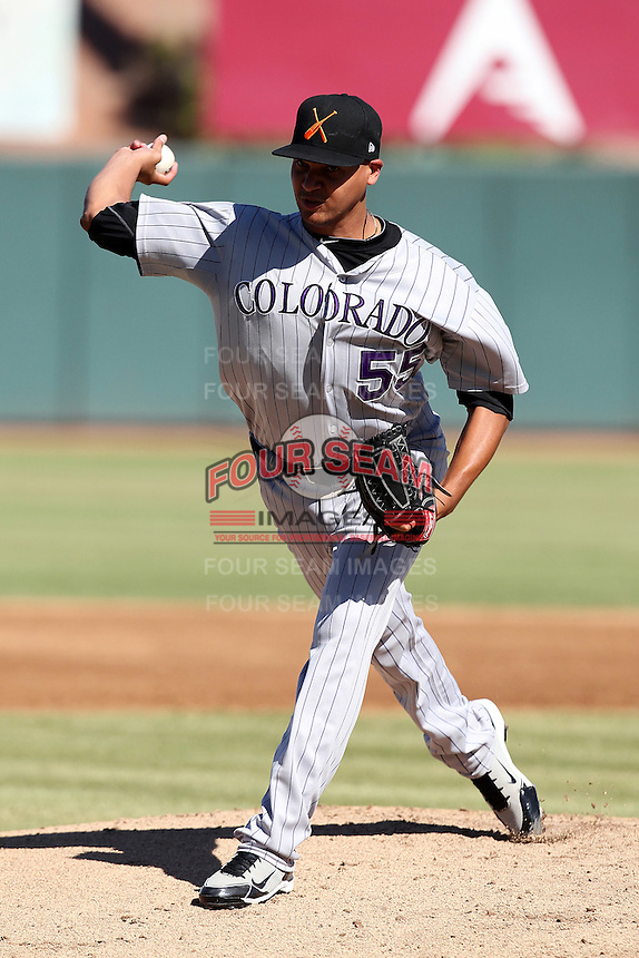 Salt River Rafters pitcher Joe Gardner #55 during an Arizona Fall League game against the Phoenix Desert Dogs at Phoenix Municipal Stadium on November 1, 2011 in Phoenix, Arizona.  Salt River defeated Phoenix 10-7.  (Mike Janes/Four Seam Images)