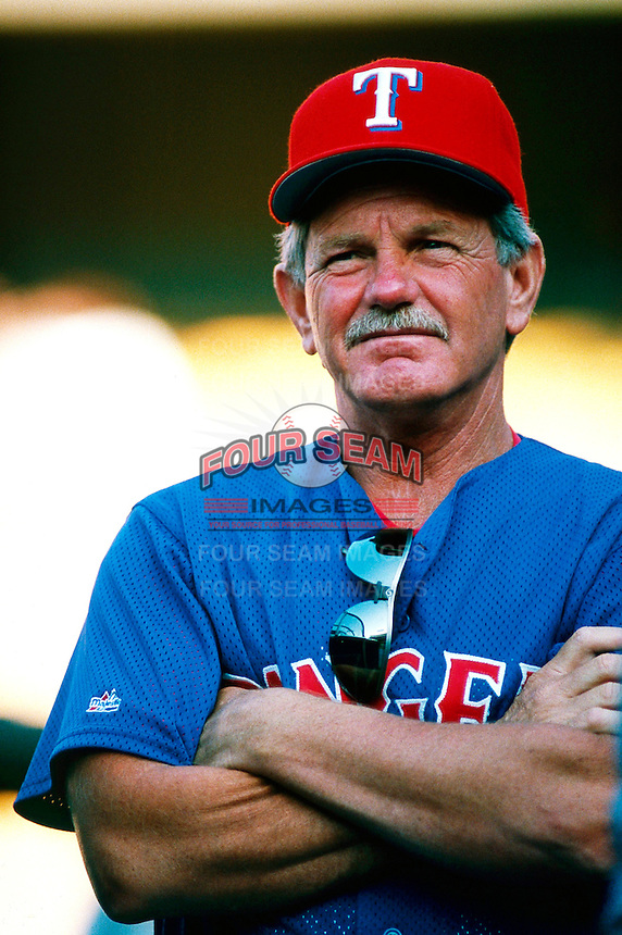 Texas Rangers Manager Johnny Oates during a game at Dodger Stadium in Los Angeles, California during the 1997 season.(Larry Goren/Four Seam Images)