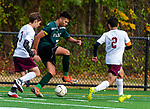 WATERBURY,  CT-101619JS17-  Wilby's Almin Cecunjann (7) pushes the ball up field past Sacred Heart's Jacob Grendzinski (3) and Eddy Romero (2) during their NVL game Thursday at Municipal Stadium in Waterbury. <br />  Jim Shannon Republican-American