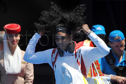 26.01.2016. Melbourne Park, Melbourne, Australia. Australian Open Tennis Championships.  Quarter-finals day.  Serena Williams (USA) after her win agains Maria SHarpova in the ladies singles quarter-finals