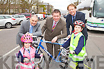 Pictured at the announcement for 1.3M active travel funding from the department of Transport, Tourism and Sport From Left: Sadhbh Corkery, Michael McMahon, Town Manager, Minister Alan Kelly, Arthur Spring, TD, and Sean Corkery.