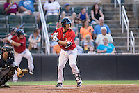 Seby Zavala (21) of the Kannapolis Intimidators at bat against the West Virginia Power at Kannapolis Intimidators Stadium on August 20, 2016 in Kannapolis, North Carolina.  The Intimidators defeated the Power 4-0.  (Brian Westerholt/Four Seam Images)