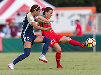 Cary, NC - August 5, 2018: The North Carolina Courage defeated the Portland Thorns 2-1 during a National Women's Soccer League (NWSL) match at WakeMed Soccer Park.