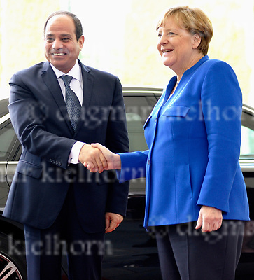 June 12-17,Chancellery,Berlin,Germany<br /> President Abdel Fattah Al-Sisi with German Chancellor Angela Merkel Al-Sisi opened the German-Egyptian Economic Forum in Berlin in a business-focused visit to Germany  in a bid to lure foreign investors to boost Egypt&rsquo;s economy.