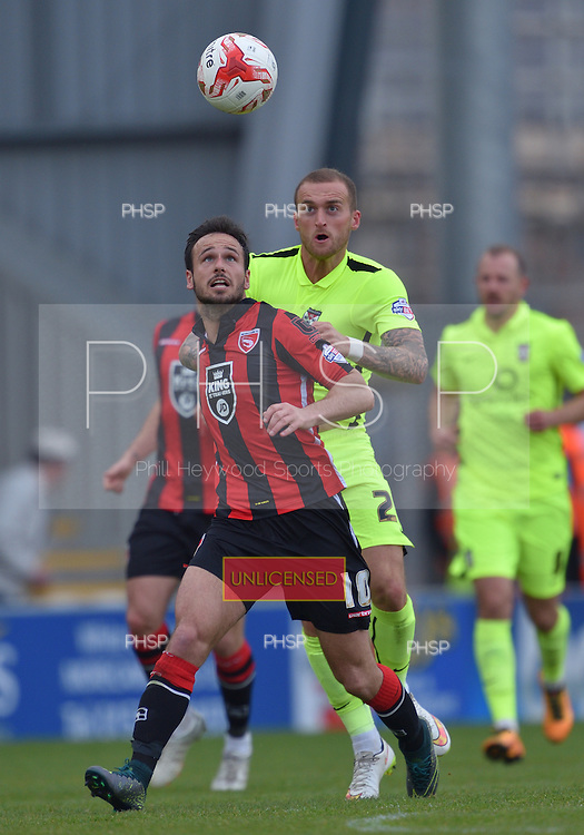 07/05/2016 Sky Bet League Two Morecambe v York City<br /> Lee Molyneux with Lewis Alessandra