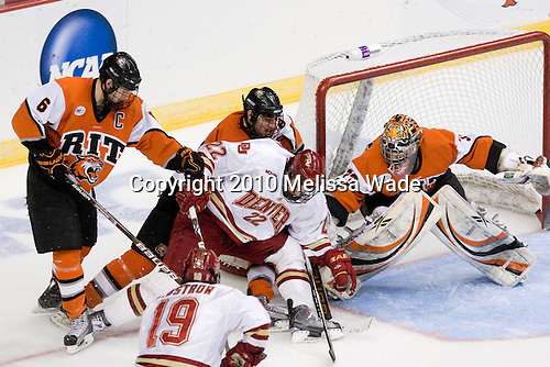 Dan Ringwald (RIT - 6), Brian Gifford (Denver - 22), Chris Tanev (RIT - 8), Jared DeMichiel (RIT - 33) - The Rochester Institute of Technology (RIT) Tigers defeated the Denver University Pioneers 2-1 on Friday, March 26, 2010, in their NCAA East Regional semi-final at the Times Union Center in Albany, New York.