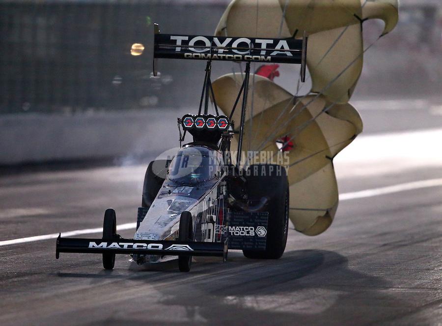 Nov 13, 2015; Pomona, CA, USA; NHRA top fuel driver Antron Brown during qualifying for the Auto Club Finals at Auto Club Raceway at Pomona. Mandatory Credit: Mark J. Rebilas-USA TODAY Sports