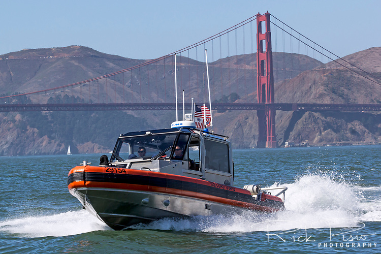 Coast Guard Response Boat - Small (RB-S), from Station Monterey patrols San Francisco Bay during 2017 Fleet Week activities.