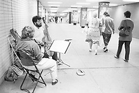 August 25 1987 File Photo - Montreal (Qc) Canada - Musician in PLace des arts metro