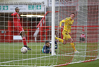 Fleetwood Town's Josh Morris scores his side's first goal  <br /> <br /> Photographer Rob Newell/CameraSport<br /> <br /> Emirates FA Cup Second Round - Crawley Town v Fleetwood Town - Sunday 1st December 2019 - Broadfield Stadium - Crawley<br />  <br /> World Copyright © 2019 CameraSport. All rights reserved. 43 Linden Ave. Countesthorpe. Leicester. England. LE8 5PG - Tel: +44 (0) 116 277 4147 - admin@camerasport.com - www.camerasport.com