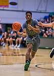 18 February 2018: University of Vermont Guard Ben Shungu, a Redshirt Freshman from Burlington, VT, in action against the Hartford Hawks at Patrick Gymnasium in Burlington, Vermont. The Catamounts fell to the Hawks 69-68 in their America East Conference matchup. Mandatory Credit: Ed Wolfstein Photo *** RAW (NEF) Image File Available ***