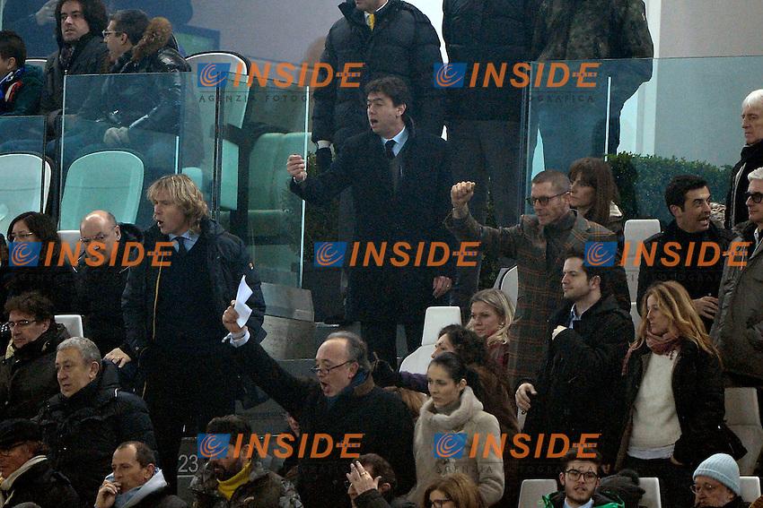 Andrea Agnelli Juventus, Pavel Nedved, Lapo Elkann<br /> Torino 02-02-2014 Juventus Stadium - Football 2013/2014 Serie A. Juventus - Inter Foto Giuseppe Celeste / Insidefoto