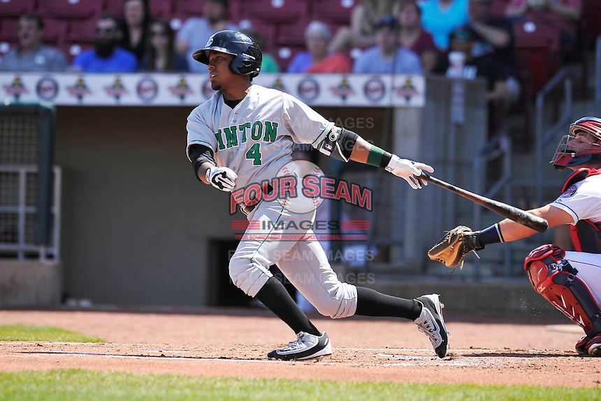Clinton LumberKings Ricky Eusebio (4) swings during the game against the Cedar Rapids Kernels at Veterans Memorial Stadium on April 17, 2016 in Cedar Rapids, Iowa.  Clinton won 7-2.  (Dennis Hubbard/Four Seam Images)