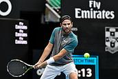 11th January 2018, Sydney Olympic Park Tennis Centre, Sydney, Australia; Sydney International Tennis,quarter final; Adrian Mannarino (ITA) hits a return in his match against Fabio Fognini (ITA)