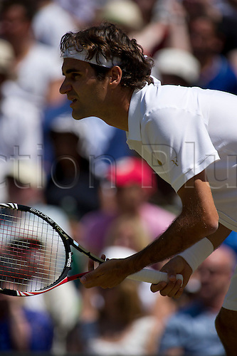 June 28th 2010: Wimbledon International Tennis Tournament held at the All England Lawn Tennis Club, London, England, Roger Federer of SUI playing Jurgen Meizer of AUT in the 4th round