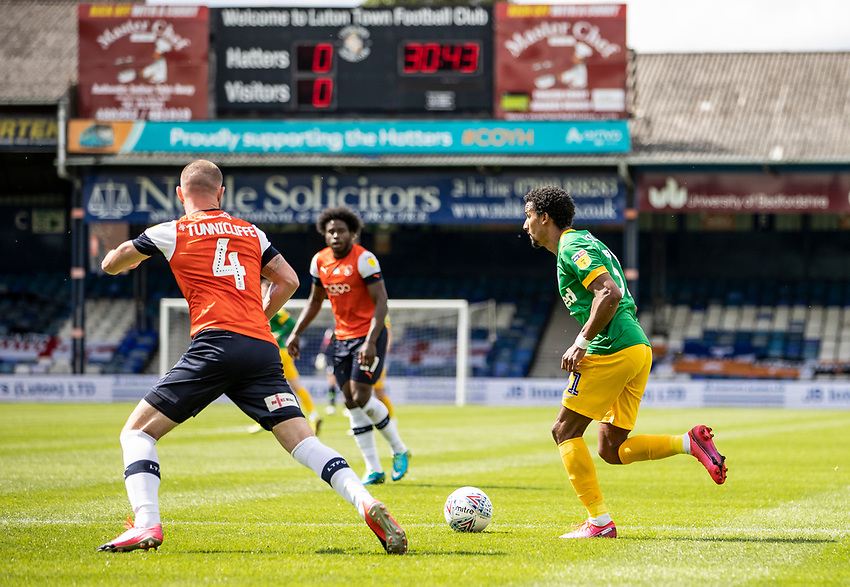 Preston North End's Scott Sinclair (right) breaks under pressure from Luton Town's Ryan Tunnicliffe <br /> <br /> Photographer Andrew Kearns/CameraSport<br /> <br /> The EFL Sky Bet Championship - Luton Town v Preston North End - Saturday 20th June 2020 - Kenilworth Road - Luton<br /> <br /> World Copyright © 2020 CameraSport. All rights reserved. 43 Linden Ave. Countesthorpe. Leicester. England. LE8 5PG - Tel: +44 (0) 116 277 4147 - admin@camerasport.com - www.camerasport.com