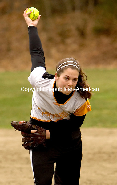 PLYMOUTH, CT--18 APRIL 2007--041807JS04-Terryville's Ashley Hogan delivers a pitch during their 3-1 win over Nonnewaug Wednesday at Main Street School in Plymouth.<br /> Jim Shannon / Republican-American