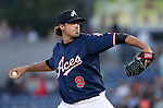 Reno Aces&rsquo; Matt Buschmann pitches against the Sacramento River Cats at Greater Nevada Field in Reno, Nev., on Tuesday, July 26, 2016.  <br />Photo by Cathleen Allison