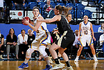 BROOKINGS, SD - MARCH 19:  Ellie Thompson #45 from South Dakota State looks to make a move around Makenzie Ellis #1 from Colorado during their second round WNIT game at Frost Arena March 19, 2017 in Brookings, South Dakota. (Photo by Dave Eggen/Inertia)