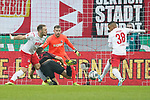 30.11.2019, RheinEnergieStadion, Koeln, GER, 1. FBL, 1.FC Koeln vs. FC Augsburg,<br />  <br /> DFL regulations prohibit any use of photographs as image sequences and/or quasi-video<br /> <br /> im Bild / picture shows: <br /> diese Situation fuehrte zum 11 Meter Florian Niederlechner (FC Augsburg #7),  gegen Rafael Czichos (FC Koeln #5),   <br /> <br /> Foto © nordphoto / Meuter