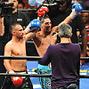Brooklyn native Paulie Malignaggi, left, and opponent Danny Garcia salute the crowd after their main event fight headlining the Premier Boxing Champions at the Barclays Center on Saturday, August 1, 2015. Garcia won the bout by TKO in the ninth round. <br /> <br /> James Escher