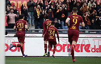 Football, Serie A: AS Roma - Torino, Olympic stadium, Rome, January 19, 2019. <br /> Roma's Nicol&ograve; Zaniolo celebrates after scoring with his teammates during the Italian Serie A football match between AS Roma and Torino at Olympic stadium in Rome, on January 19, 2019.<br /> UPDATE IMAGES PRESS/Isabella Bonotto