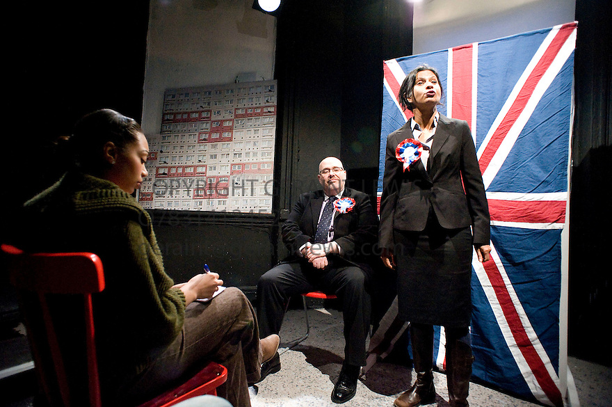 A Day at thye Racists by Anders Lustgarten,directed by Ryan McBryde.With Zaraah Abrahams as Zenobia,Nick Holder as Richard Coleman,Thusitha Jayasundera as Gina White.Opens at The Finborough Theatre on 4/3/10 Credit Geraint Lewis