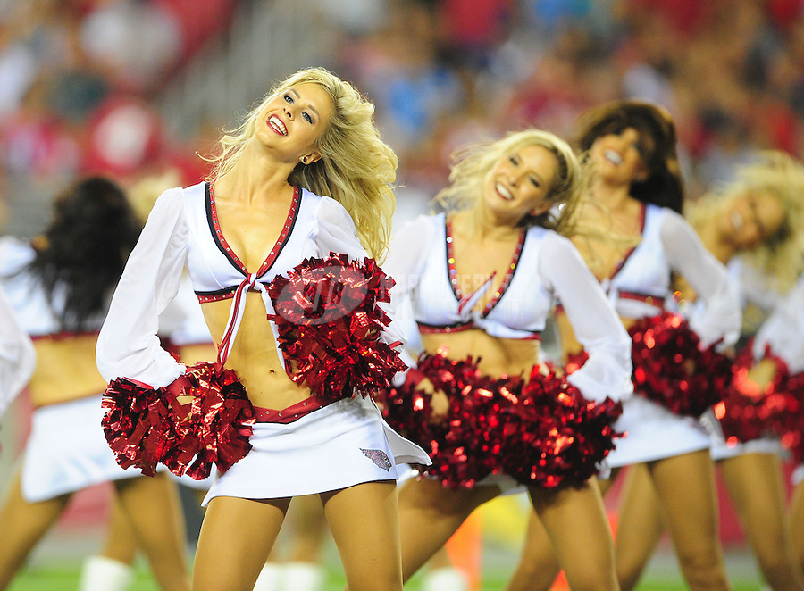 Aug. 27, 2011; Glendale, AZ, USA; Arizona Cardinals cheerleaders perform against the San Diego Chargers during a preseason game at University of Phoenix Stadium. Mandatory Credit: Mark J. Rebilas-