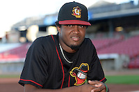 Quad Cities River Bandits pitcher Jandel Gustave (20) poses for a photo before a game against the Cedar Rapids Kernels on August 18, 2014 at Perfect Game Field at Veterans Memorial Stadium in Cedar Rapids, Iowa.  Cedar Rapids defeated Quad Cities 5-3.  (Mike Janes/Four Seam Images)