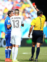 Claudio Marchisio of Italy is shown a straight red card and is sent off