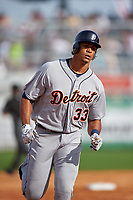 Detroit Tigers right fielder Steven Moya (33) running the bases after hitting a home run during a Spring Training game against the New York Yankees on March 2, 2016 at George M. Steinbrenner Field in Tampa, Florida.  New York defeated Detroit 10-9.  (Mike Janes/Four Seam Images)