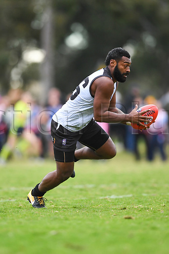 August 15th 2017, McAlister Oval, Parkville Victoria,  Australia; Australia Rules Football Mens International Cup, Division 1, Great Britain versus Fiji; Mesake Koroi of Fiji running with the ball