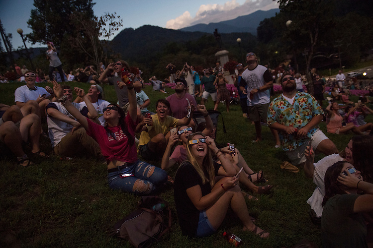 UNITED STATES - AUGUST 21: Spectators view the solar eclipse at the time of totality in Sylva, N.C. on August 21, 2017. (Photo By Tom Williams/CQ Roll Call)
