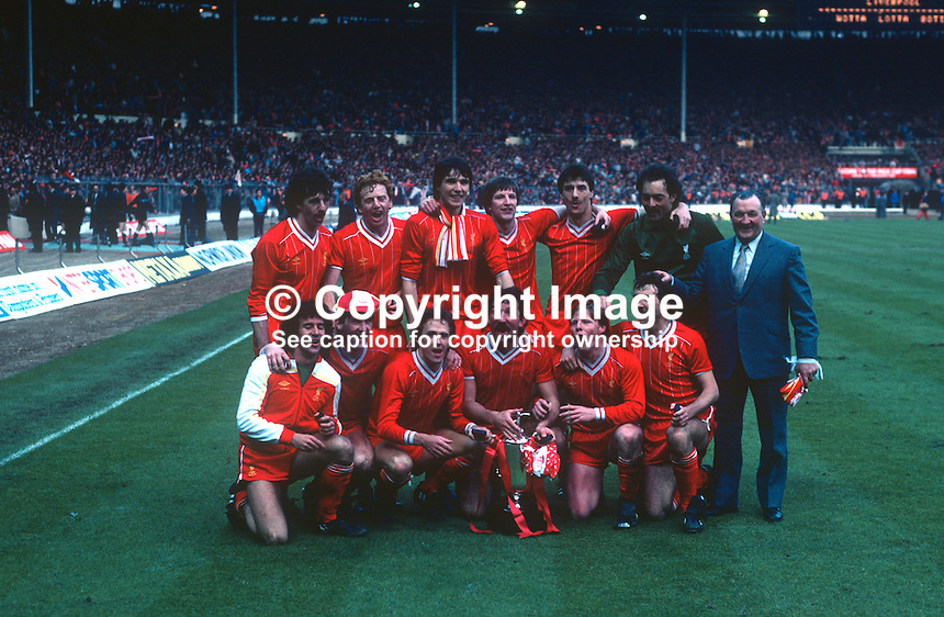 Victorious Liverpool FC team pose with manager, Bob Paisley, after defeating Manchester United 2-1 in the final of the 1983 Milk Cup at Wembley, London, UK. 19830326LIV1..Copyright Image from Victor Patterson, 54 Dorchester Park, Belfast, United Kingdom, UK...For my Terms and Conditions of Use go to http://www.victorpatterson.com/Victor_Patterson/Terms_%26_Conditions.html